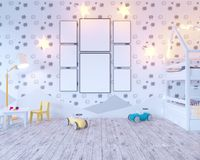 Mock up poster children`s color room, with light bulbs. 3d illustration studio,  template,  up,  wall,  white. Mock up poster children`s color room, with light Stock Photo