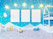 Mock up poster children`s color room, with light bulbs. 3d illustration studio,  template,  up,  wall,  white. Mock up poster children`s color room, with light Royalty Free Stock Photography