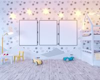 Mock up poster children`s color room, with light bulbs. 3d illustration studio,  template,  up,  wall,  white. Mock up poster children`s color room, with light Royalty Free Stock Image