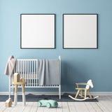 Mock up poster in the children`s room. Children`s room in Scandinavian style. 3d illustration. Royalty Free Stock Photo