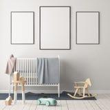Mock up poster in the children`s room. Children`s room in Scandinavian style. 3d illustration. Mock up poster in the children`s room. Children`s room in Stock Photography
