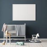 Mock up poster in the children`s room. Children`s room in Scandinavian style. 3d illustration. Stock Image