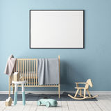 Mock up poster in the children`s room. Children`s room in Scandinavian style. 3d illustration. Mock up poster in the children`s room. Children`s room in Royalty Free Stock Photos