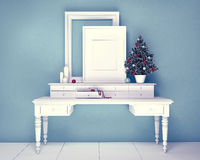 Mock up poster and christmas tree on a dresser Stock Photos