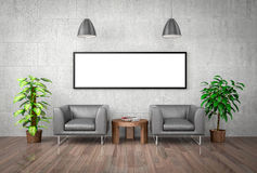 Mock up poster on concrete wall, 3d illustration Royalty Free Stock Image