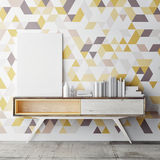 Mock up poster on decorative geometric wall, Royalty Free Stock Photo