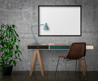 Mock up poster, desk and chair, 3d illustration Royalty Free Stock Photo
