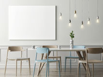 Mock up poster in dining room, hipster background. 3d render, 3d illustration royalty free illustration