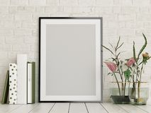 Mock up poster, empty frame with flowers and books decor,. 3d render, 3d illustration vector illustration