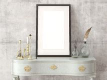 Mock up poster empty frame on the retro dresser. Mock up poster empty frame on the dresser with retro hipster background Royalty Free Stock Images