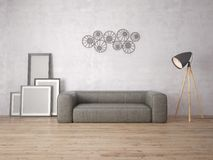 Mock up poster with empty frames and a comfortable sofa. Stock Images