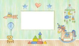 Baby photo frame, watercolor illustration. Mockup royalty free illustration