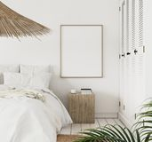 Mock-up poster frame in bedroom, Scandinavian style. 3d render royalty free stock image