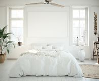 Mock-up poster frame in bedroom, Scandinavian style