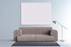 Mock up poster frame in blank room with vintage sofa 3d illustration Royalty Free Stock Photos