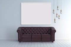 Mock up poster frame in blank room with vintage sofa 3d illustration Royalty Free Stock Images