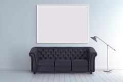 Mock up poster frame in blank room with vintage sofa 3d illustration Royalty Free Stock Image