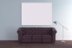 Mock up poster frame in blank room with vintage sofa 3d illustration Royalty Free Stock Photo