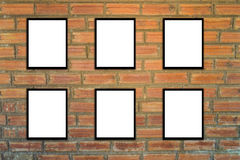 Mock up poster frame and brick wall hipster or vintage.3 Stock Image