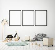 Mock up poster frame in children bedroom, scandinavian style interior background, 3D render royalty free illustration