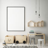 Mock up poster frame in children bedroom, scandinavian style interior background, 3D render Royalty Free Stock Photography