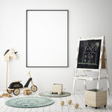 Mock up poster frame in children bedroom, scandinavian style interior background, 3D render. 3D illustration Royalty Free Stock Photo