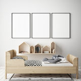 Mock up poster frame in children bedroom, scandinavian style interior background, 3D render