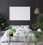 Mock-up poster frame in dark bedroom, Scandinavian style