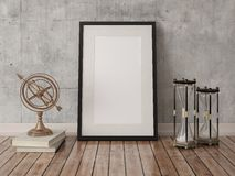 Mock up poster frame on hipster background. Royalty Free Stock Photos