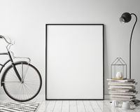 Mock up poster frame in hipster interior background with bicycle, scandinavian style, 3D render. 3D illustration Royalty Free Stock Photo