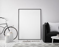 Mock up poster frame in hipster interior background with bicycle, scandinavian style, 3D render. 3D illustration Stock Images