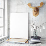 Mock up poster frame in hipster interior background,christamas decoration, Stock Image