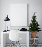 Mock up poster frame in hipster interior background,christamas decoration, Royalty Free Stock Photo