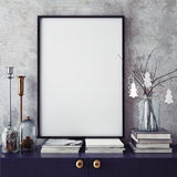 Mock up poster frame in hipster interior background,christamas decoration, stock photos