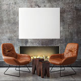 Mock up poster frame in hipster interior background,. 3D render Royalty Free Stock Images