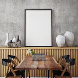 Mock up poster frame in hipster interior background, Stock Photography