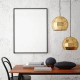 Mock up poster frame in hipster interior background,. 3D rendering, 3D illustration Royalty Free Stock Image