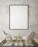 Mock up poster frame in hipster interior background, 3D rendering, Stock Photography