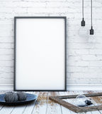 Mock up poster frame in hipster interior background with light letters, scandinavian style, 3D render. 3D illustration Stock Photography
