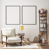Mock up poster frame in hipster interior background, living room,Scandinavian style, 3D render, 3D illustration stock illustration