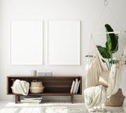 Mock up poster frame in hipster interior background, living room,Scandinavian style, 3D render, 3D illustration vector illustration