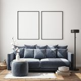 Mock up poster frame in hipster interior background, living room,Scandinavian style, 3D render, 3D illustration. Mock up poster frame in living room interior stock illustration