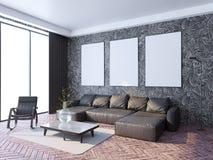 Mock up poster frame in hipster interior background, Scandinavian style, 3D render, 3D illustration stock image