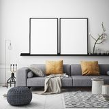 Mock up poster frame in hipster interior background, Scandinavian style, 3D render Stock Images