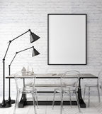 Mock up poster frame in hipster interior background, scandinavian style, 3D render Stock Photo