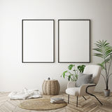 Mock up poster frame in hipster interior background, scandinavian style, 3D render royalty free illustration