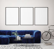 mock up poster frame in hipster interior background, Scandinavian style, 3D render Royalty Free Stock Images