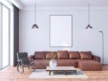 Mock up poster frame in hipster interior background, Scandinavian style, 3D render, 3D illustration. Brand, books, portfolio vector illustration