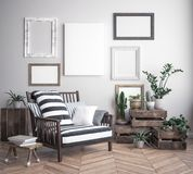 Mock up poster frame in hipster interior background, scandinavian style royalty free illustration