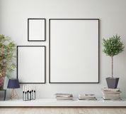 Mock up poster frame in hipster room, scandinavian style interior background, Stock Photography